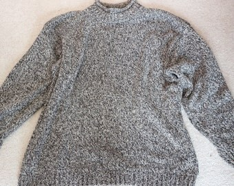 Cotton silk marled fisherman sweater with stand up collar unisex grey marl XL