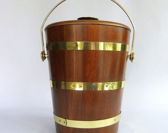 Vintage Mid Century Modern Walnut Wood, Staved Ice Bucket Brass Straps - Lidded Tall, Bar, Scandinavian Design, Made USA, Vermillion, Rustic