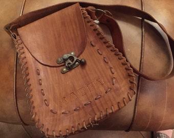 For Kathy  - Vintage Fancy Tooled Leather Shoulder Bag