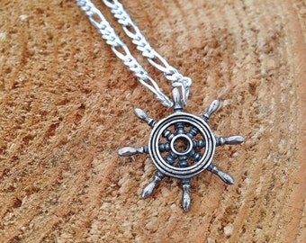 Captain's Ship Wheel Pendant / Sterling Silver / Adventurer / Wanderlust Whimsical Nature Lover /Nautical jewelry necklace / northwest