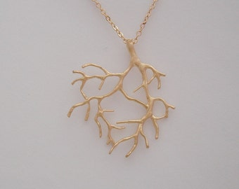 2 Pcs-Coral Branch Pendant Matte Gold over Brass Tree Leaf Jewelry Making.