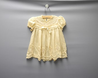 Vintage Baby Clothes, 1920's Handmade Tan Silk and Lace Baby Girl Dress, Vintage Baby Dress, Tan Baby Dress, Silk Baby Dress, Size 12 Months