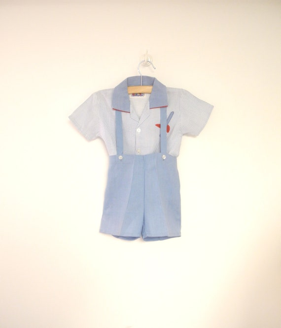 vintage baby clothes 1950 s blue and white baby boy by