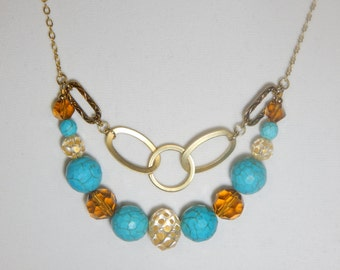 Gold and Turquoise Chain Necklace