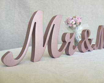 script wood  letters for wedding, wedding script  letters Mr and Mrs wedding signs