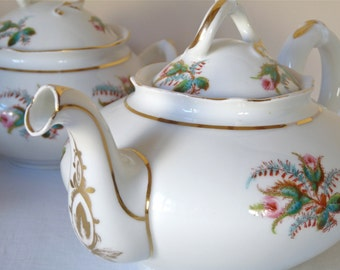 Set 3 - French Antique Porcelain Tea Set, Porcelain of Paris, French Teapot, big teapot
