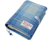 Book Cover in HARRIS TWEED Blue Skies, Handmade Bible Cover, Custom Size Book Covers made, UK Seller