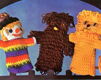 Puppets Crocheted Loopy Bear Lion & Clown Pattern Instant Download PDF