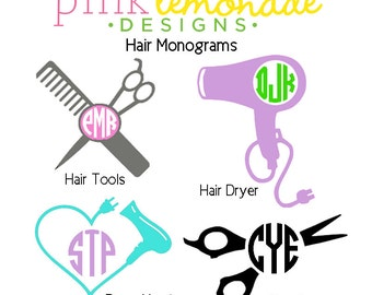Hair Stylist Monogram Decal, Hair Designer Hair Tools Monogram Vinyl Decal, Hair Dresser Hair Dyer Decal, Scissors Hair Shears Monogram