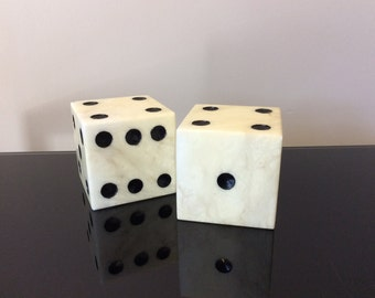 Vintage Pair of Italian Alabaster Marble Dice Bookends