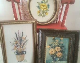 Set of 3 Vintage Floral Art