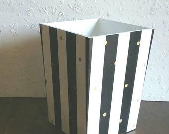 Striped Waste basket - Black, White and Gold - Wood Trash can - Wooden Waste basket - Gold dots - Striped Trashcan - Bathroom Trash Can