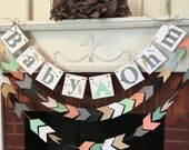 Aztec Baby Shower decor - Gender Neutral Tribal baby shower- teepee and arrow Garland - pow pow baby shower decoration- your color choice