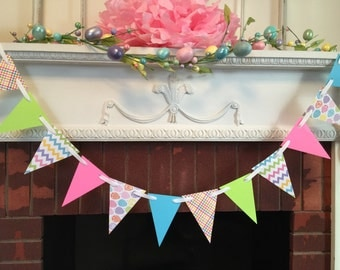 Easter Decoration - Easter Garland- spring Decor- Happy Easter banner- Chevron Garland- Easter Photo Prop- Baby showers