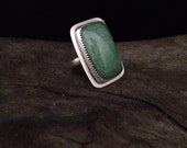 Reserved Green Aventurine and stering silver ring