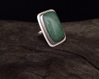 Green Aventurine and stering silver ring