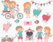 valentines day clipart digital clip art kids children birds hearts  - Valentine Friends Digital Clipart