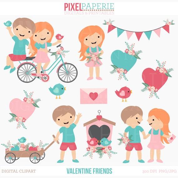 valentines day clipart digital clip art kids children birds