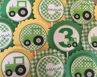 SET OF 12, Green Tractor Cupcake Toppers