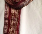 15% Off Pure silk stole/scarf- Indian silk sari stole made from red and  gold zari borders from India