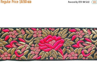 15% off 1 Yard Embroidered Ribbon on dupion silk in a gorgeous floral design on a black background