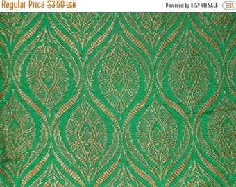 15% off Fat quarter indian green gold  Indian silk brocade fabric