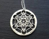 Small Metatron's Cube Pendant - sterling silver and 9ct gold - Handcrafted Sacred Geometry Jewellery