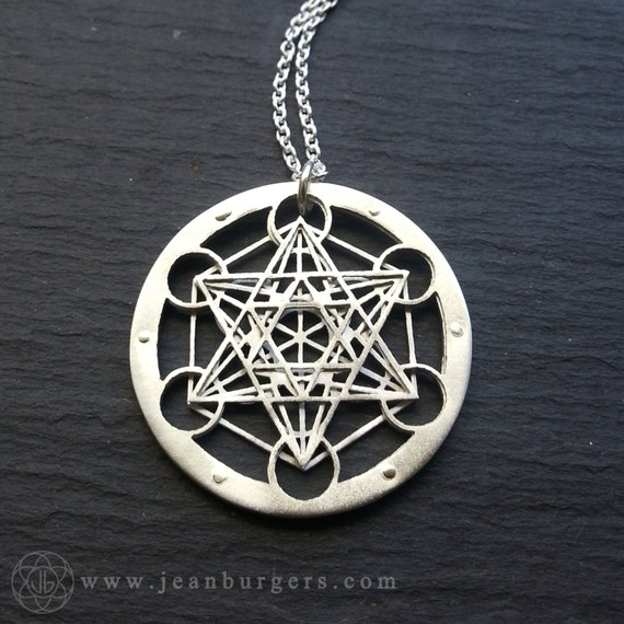 Small metatron 39 s cube pendant sterling silver and 9ct for Metatron s cube jewelry