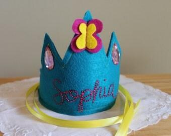 Custom Crown, First Birthday Crown, Felt Crown, Birthday Crown, First Birthday Girl, Princess Crown, Personalized Crown, Photo Prop