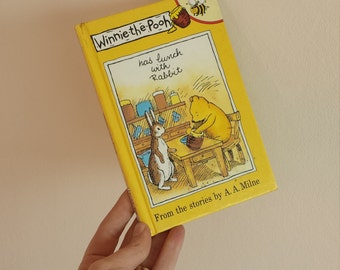 Winnie the Pooh has lunch with rabbit Notebook handmade from a Disney ladybird book