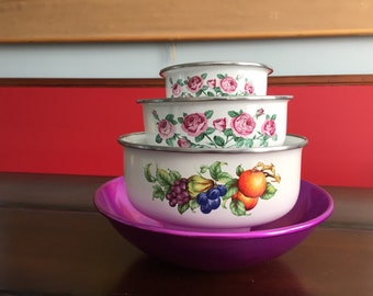 Vintage Enamel and Aluminum Bowls - Retro Food Stoarge and Serverware - Purple Roses and Fruits