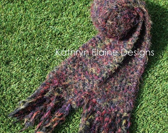 Multi-Color Hand Knit Scarf with Fringe