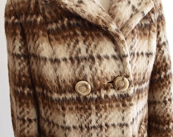 Vintage Tweed Plaid Mohair Coat - 1960 Mod Coat - Peacoat - Brown Checked Plaid Coat - Short Coat Jacket - Mod Retro Hipster