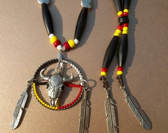 Four Directions Buffalo Medicine Wheel Necklace, pewter feathers, real horn hair pipe