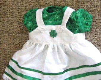 "Green and White Shamrock Print Jumper, Blouse, Headband & Booties  Set Fits Bitty Baby or Other 15"" Baby Dolls"