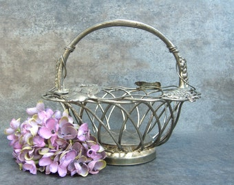 Rustic Silver Basket with Grapes Leaves, Studio Silversmiths, Tarnish Patina, Candy, Planter