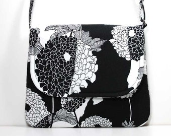 Medium Crossbody Bag Shoulder Purse Sling Bag Hobo Bag Cross Body Bag - Black and White Leaves and Flowers with 2 Pockets - Made to Order