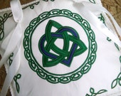 Celtic Heart & Triquetra Knot Embroidered Ring Pillow