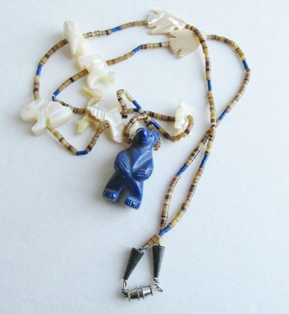 Vintage Zuni Fetish Necklace w Lapis Bear & MOP