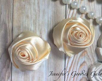 "Set of TWO Cream 2"" Satin Rosette Flower Heads, Rolled Roses Wholesale Mini Rosettes for Baby Headbands"
