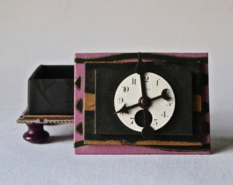 Handmade Box in Purple and Black with Vintage Pocketwatch Face for Gift and Decor