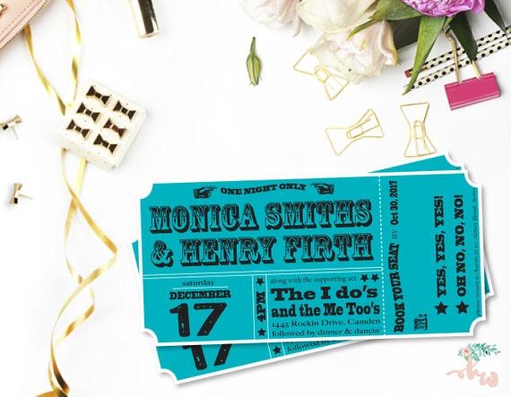 Music Ticket Wedding Invitations DIY Set (printable)