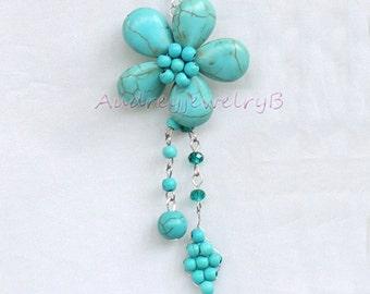 1 Pair Turquoise Earrings ,Pentagram tassel earrings, Turquoise beads Jewellery,Turquoise Boho Earrings, sister, friend gift,Boho Jewelry