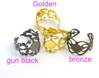 10 pcs Gun black/Golden/  bronze Brass Adjustable Filigree Flower Ring Bases with 8mm Pad