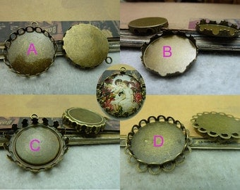 10pcs 32mm-inner 25mm Antique Bronze Lace Round Cameo Cabochon Base Setting Charm Pendant B25
