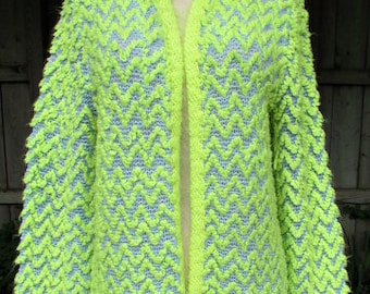 vintage 60s lime zig zag cardigan sweater open front  union made usa funky mod disco