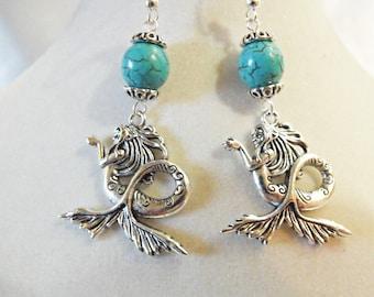 Silver Dangle Earrings,  Mermaid Earrings With Turquoise Beads,  Womens Gift  Handmde