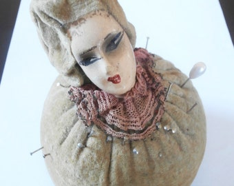 Antique Victorian Sewing Pin Cushion Ceramic Head Circa Late 1800s