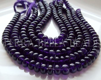 "Full 9"" strand purple AFRICAN AMETHYST smooth gem stone rondelle beads 7.5mm"