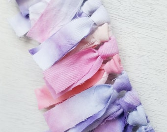 Tie Dye Fabric Bunting in Pinks and Purples